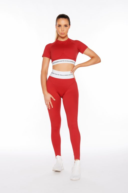 shop deep red cropped sports bra tee