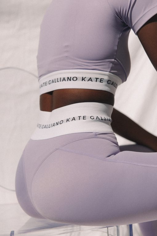 lilac high waisted leggings and cropped sports tee