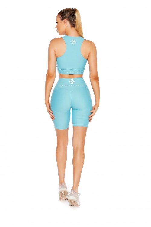 aqua scrunch bum bike shorts and sports bra set