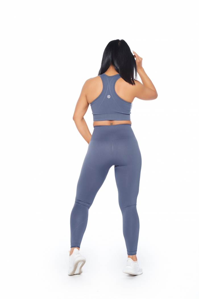 steel grey seamless leggings and sports bra