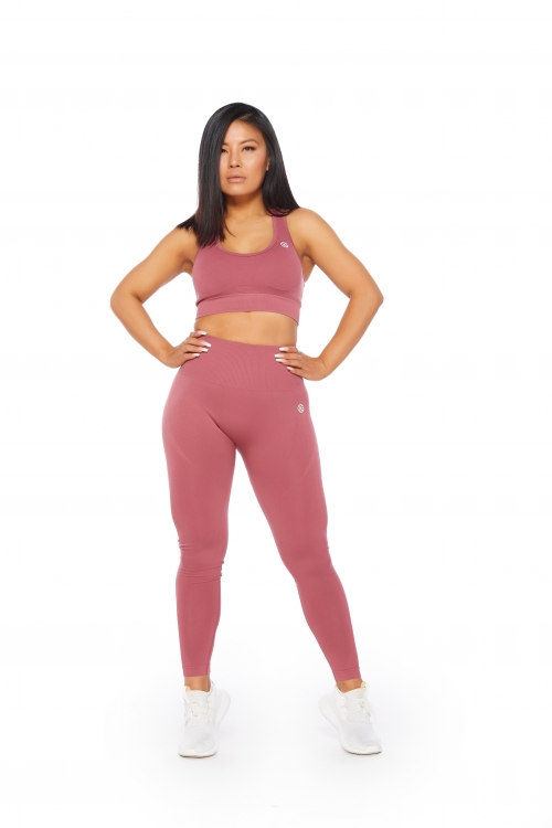 muave coral seamless activewear set