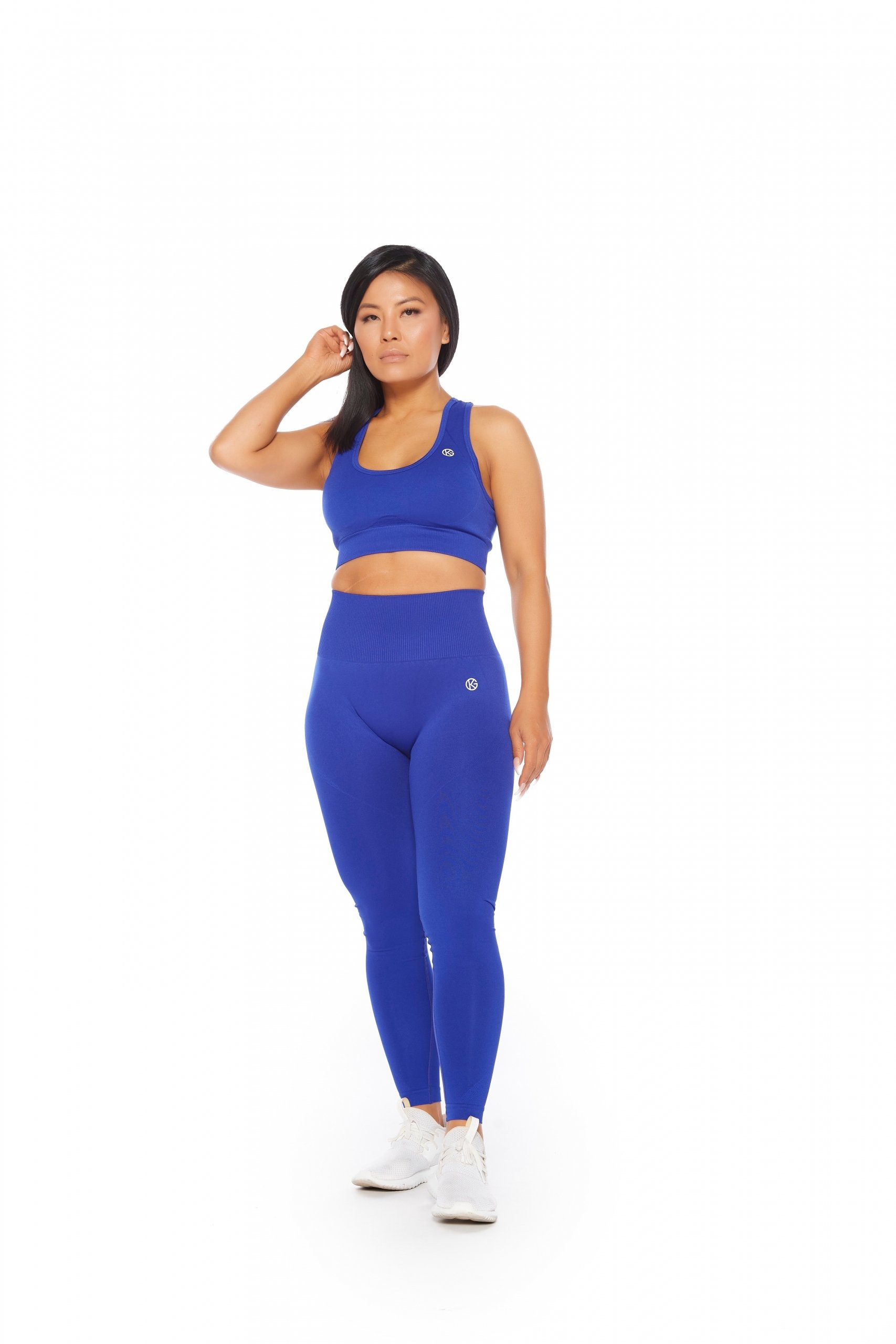 blue seamless leggings and sports bra