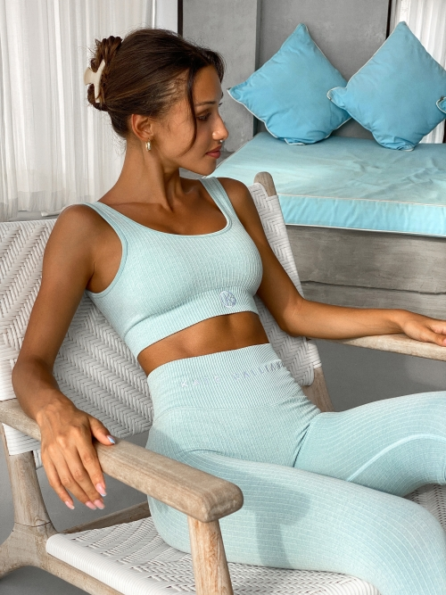 ribbed seamless set blue