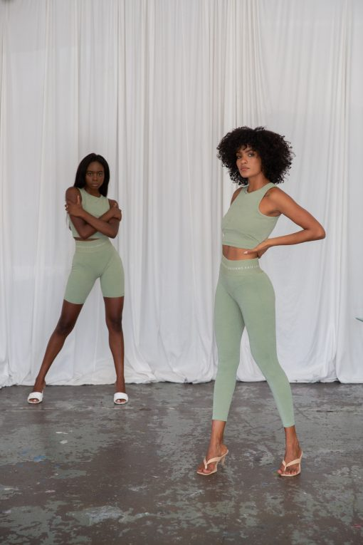 sage pistachio bike shorts leggings and cropped sports top