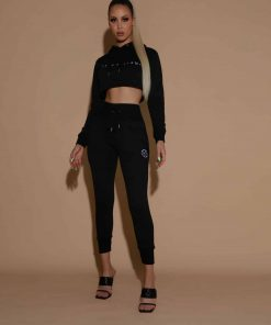 black cropped hoodie and trackies trackpants