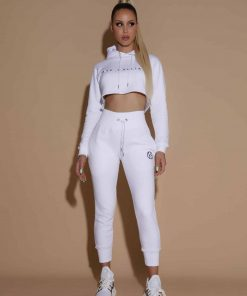 white cropped hoodie tracksuit trackies